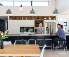While expecting baby number three this Christchurch family embarked on an ambitions build and the results are a Scandi-inspired dream Kitchen Reno, Kitchen Dining, Kitchen Ideas, Dining Room, Staff Lounge, Plywood Kitchen, Inside Home, Updated Kitchen, Kitchen Interior