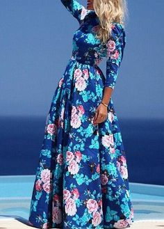 Fashion Navy Blue Round Neck Floral Printed Maxi Dress on Luulla
