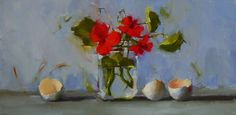 Susan Nally: A Painter's Journal: Red Flowers with Eggshells