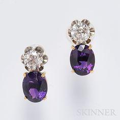 14kt Gold, Amethyst, and Diamond Earrings