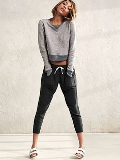 Comfy with an off-duty twist (and a kiss of cashmere). | Victoria's Secret Crop Jogger