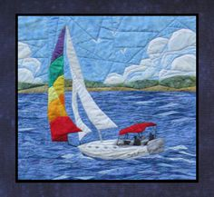 Sailing Away pictured pieced quilt pattern by England Design- Paper Pieced