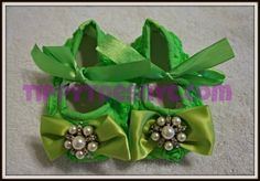 baby shoes chiffon green with pearls