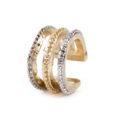 Brinco Ear Cuff Listras Bicolor Dourado Prateado Folheado - LAÇOS de FILÓ | acessórios femininos