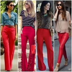 Business-Outfits Business-Outfits in 2020 Blue Pants Outfit, Colored Pants Outfits, Red Dress Pants, Red Trousers, Business Casual Outfits, Professional Outfits, Outfit Pantalon Rojo, Red Fashion, Fashion Outfits