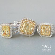I adore yellow diamonds! What is your favorite diamond color? #yellowdiamondrings #engagementring #diamonds #yaeldesigns
