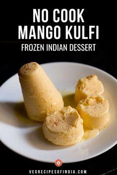 This very simple version of mango kulfi is one that can be made at home easily any time of the year. I often make kulfi during the hot summer months in India as it cools and refreshes the body. This is a no cook recipe for mango kulfi too which means all you need to do is blend the ingredients together and put it in the freezer to set. Soon you will be eating this delicious easy Indian dessert! Try it this week! #dessert #Indiansweets #mangokulfi #nocook #vegetarian #Indianfood Easy Indian Dessert Recipes, Vegetarian Recipes Easy, Indian Food Recipes, Köstliche Desserts, Frozen Desserts, Delicious Desserts, Eggless Desserts, Frozen Treats, Donut Recipes