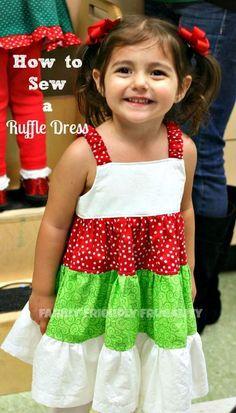 How To Sew A Ruffle Dress – A Quick 3 Tier Ruffle Dress Tutorial For A Little Girl: http://www.familyfriendlyfrugality.com/how-to-sew-a-ruffle-dress-a-quick-3-tier-ruffle-dress-tutorial-for-a-little-girl/
