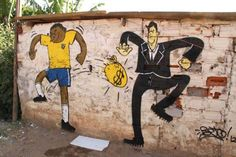 Credits to Beto, when the brazilian graffiti street art expresses outrage over world football cup.