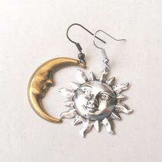 Mismatched Earrings  Sun and Moon Earrings Dangly by TemporalFlux, $10.00