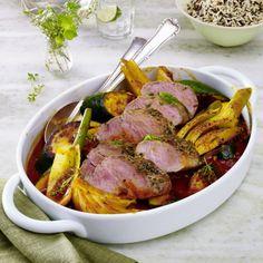 Kräuter-Schweinefilet mit Fenchel-Zucchinigemüse