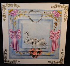 Swans of Love on Craftsuprint designed by Donna Kelly - made by Yvonne Middleton - Printed on 135 gsm gloss paper, I cut out all of the elements and decoupaged using foam pads, I then mounted the image onto the card using dst. This is a lovely design. - Now available for download!