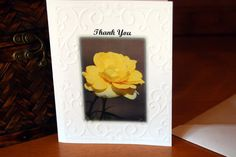 Rose Cards. Thank You Yellow Rose Embossed Photo Cards! - pinned by pin4etsy.com