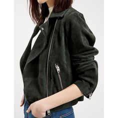 Topshop Emerald Green Suede Biker Jacket A cool green shade and lush suede construction update a classic moto jacket styled for a fresh, modern look with an asymmetrical front and exposed zipper detailing. Will work for a 2-4 or S. New with tags. NO TRADES/PAYPAL. Topshop Jackets & Coats