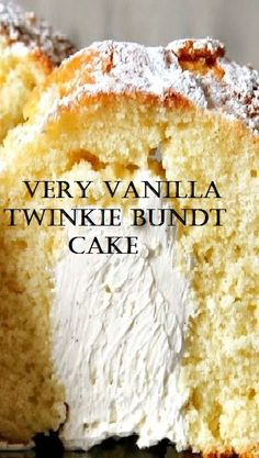 Very Vanilla Twinkie Bundt Cake cake vanilla twinkie recipes Food Cakes, Cupcake Cakes, Snack Cakes, Köstliche Desserts, Dessert Recipes, Vanilla Desserts, Twinkie Desserts, Twinkie Cupcakes, Twinkie Cake Recipes