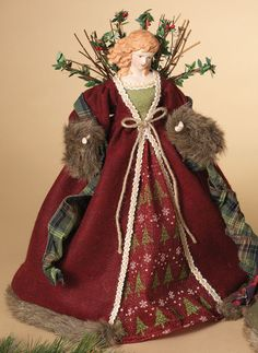 16 Red Woodland Angel Tree Topper