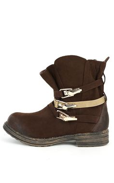 Qupid Ryanne-07 Buckle Ankle Boots BROWN