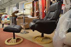 Living : MALLA Leather Recliner Chair & Footstool