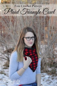 FREE Crochet Pattern: Crochet Plaid Triangle Cowl    Crochet this beautiful cowl in a classic and popular buffalo plaid color pattern.