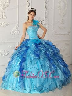 Discount Aqua Blue Quinceanera Dress One Shoulder Satin and Organza Beading Ball…