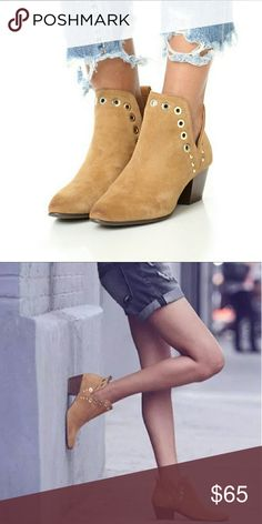 """Grommet Booties - Brown Grommet Booties - Brown  With gold grommet  Slip on booties   True to size  Heel - 2.5""""  ● PRICE IS FIRM ● Shoes Ankle Boots & Booties"""