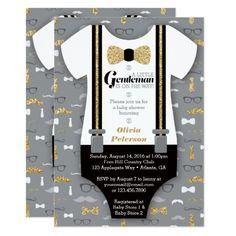 Little Man Baby Shower Invitation, Faux Glitter Card