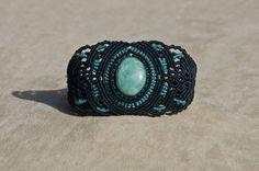 Macrame bracelet with Amazonite (natural stone) via Etsy