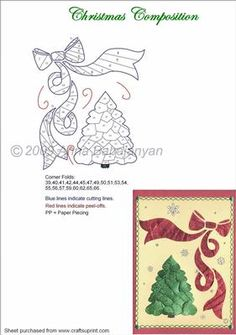 Christmas Composition on Craftsuprint designed by Anna Babajanyan - A very elegant and beautiful pattern for Christmas. YOu can make the tree both in just white and then to add some glitter, or also just in green. - Now available for download!