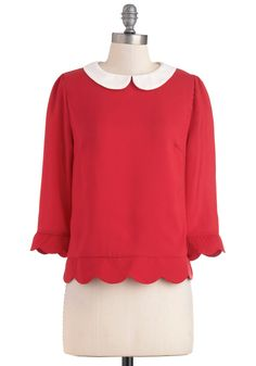 Dream Home Top - Red, Tan / Cream, Peter Pan Collar, Scallops, 3/4 Sleeve, Mid-length, Work, Casual, Vintage Inspired