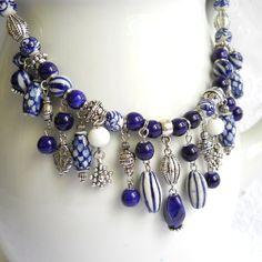 Bib necklace blue necklace Delft blue necklace blue and by minouc Lust darauf mit Schmuck Geld zu verdienen? www.silandu.de