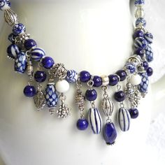 Bib necklace blue necklace Delft blue necklace blue and by minouc
