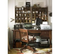 Rustic/Farmhouse style home office There is just something about apothecary style cubbies. Home Office Design, House Design, Office Designs, Office Ideas, Office Setup, Desk Office, Loft Design, Office Style, Design Design
