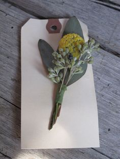 yellow boutonniere, Billy Ball and seeded eucalyptus boutonniere via floralartvt.com