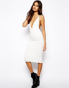 Oh My Love Scuba Plunge Neck Bodycon Dress With Strap Back