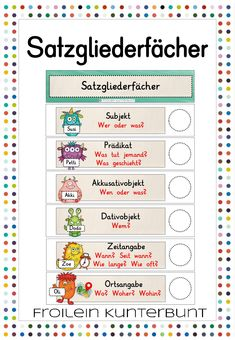 Satzliederfächer Monster – Deutsch This kind of busy community possesses turned each of our gear French Lessons, Spanish Lessons, Teaching Spanish, Spanish Activities, Teaching French, Learn German, Learn French, Primary School, Elementary Schools