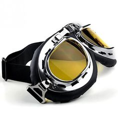 []  HAMIST Vintage Motorcycle Goggles Aviator Glasses WWII RAF Pilot Half Helmet Goggles Yellow []---