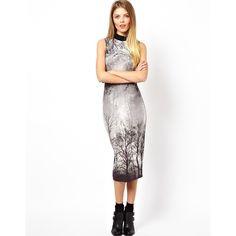 ASOS Polo Forest Print Midi Body-Conscious Dress