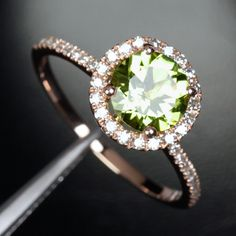 peridot in rose gold.  And what about something different for a natural proposal?