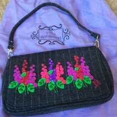 Lulu Guinness Lulu Guinness wool small shoulder bag with flower embroidery. Used once, excellent condition. Comes with dustbag. Lulu Guinness Bags Mini Bags