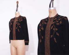 1950s black floral beaded sweater / Vintage 50s wool by Ainshent, $49.00