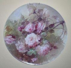 """Antique Franz Arthur Bischoff Signed 18"""" Limoges Porcelain Charger Plate 1906"""