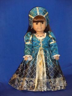 This beautiful regal outfit will fit your American Girl doll or any other similar 18 doll size.    This young Tudor Princess is ready for