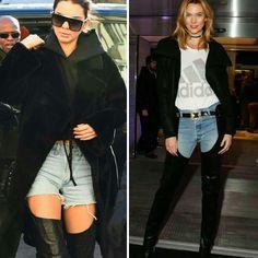 Dois looks inspiradores da Kendall e da Karlie, que mostram a tendência de botas longas e abertas até a cintura, para as próximas estações.♥️✨ #kendalljenner #karliekloss #creative #fashion #style #thighhigh #beltedboots #trends
