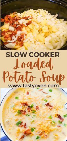 Crockpot Loaded Potato Soup, Homemade Potato Soup, Slow Cooker Potato Soup, Slow Cooker Bacon, Cream Of Potato Soup, Best Baked Potato Soup Recipe, Cheddar Bacon Potato Soup, Easy Potato Soup, Cheddar Cheese