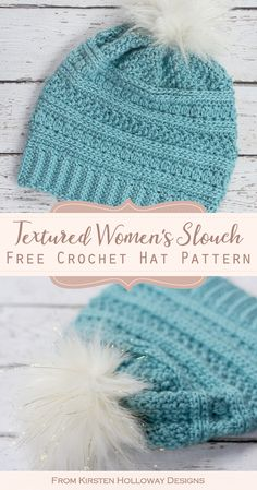 Crochet a beautiful textured hat for women with this free slouchy beanie pattern. It also includes a tutorial for the pom-pom. hat for women Free Crochet Slouch Hat Pattern For Women Crochet Slouchy Beanie Pattern, Beanie Pattern Free, Free Knitted Hat Patterns, Stitch Patterns, Knitting Patterns, Crochet Patterns, Crochet Designs, Crochet Winter Hats, Easy Crochet