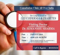 "#AimilHealthcare and Research Centre is organizing #ConsultationClinic for #Leucoderma & #Diabetes on 23rd July in #Bhubneshwar .  ""Be First To #Book Your #Appointment"" For more information, visit : www.aimilhealthcare.com/camps"
