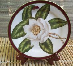 American Atelier Magnolia Blossom Salad Dessert Plate Porcelain  #AmericanAtelier