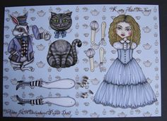 Alice in Wonderland Articulated Paper Doll, via Etsy