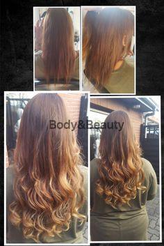 Haarverlängerung mit europäischem Schnitthaar. 100 Extensions mit anschließenden Balayage