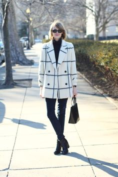 This coat is wow. The box bag and velvet pants, perfect. District of Chic